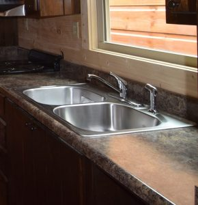 Sink options green river log cabins stainless steel over counter double bowl sink with standard faucet laminate counters workwithnaturefo